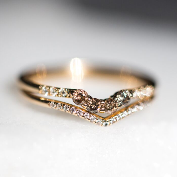 Champagne Diamond Arch Ring image