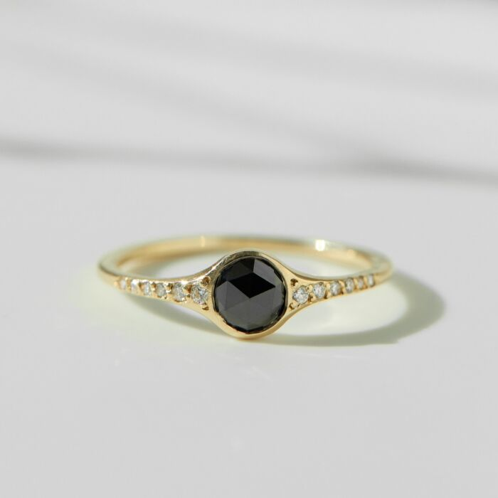 Florence Solitaire Ring, Black Diamond