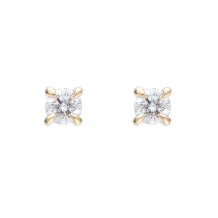 Angel Hair Diamond Stud, Sparkler, Yellow Gold (single)