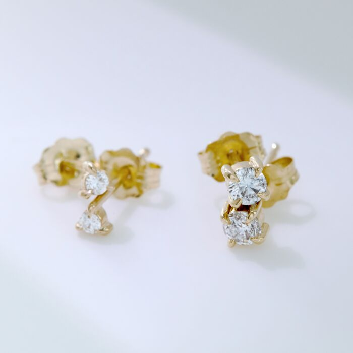 Angel Hair Diamond Stud, Sparkler, Yellow Gold (single) image