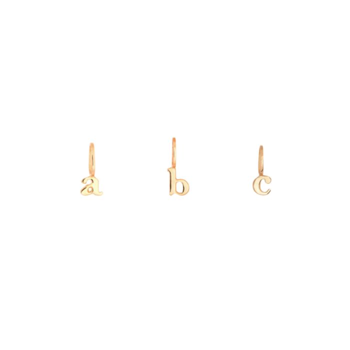 Tiniest Alphabet Charm, Yellow Gold