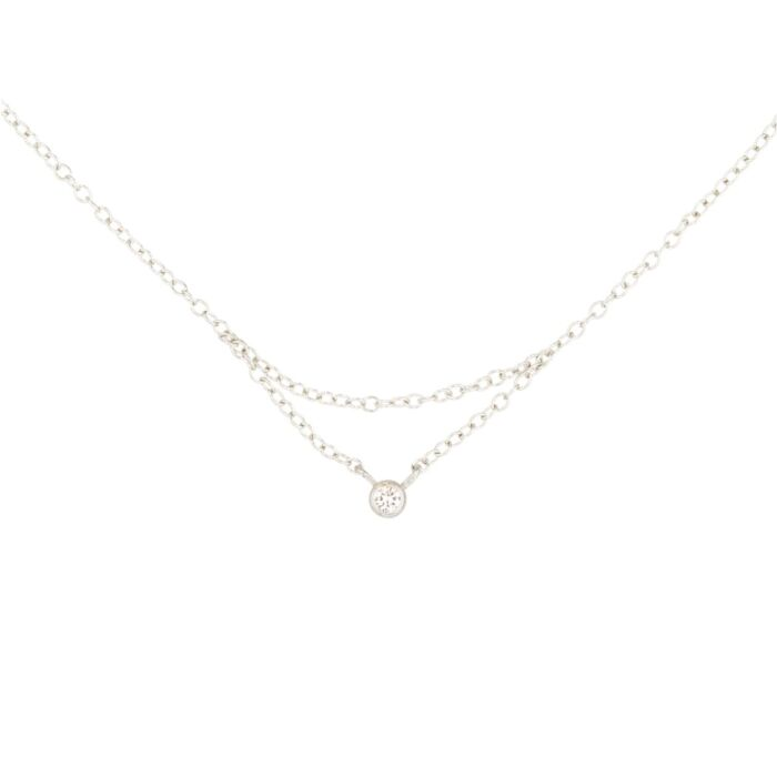 Chained to My Heart Necklace, White Gold