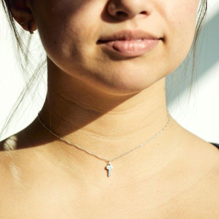 Tiniest Key Charm, Silver image