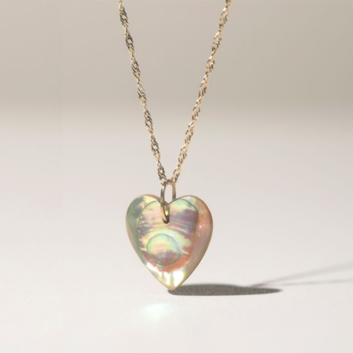 Mother of Pearl Love Token, Styled on Chain