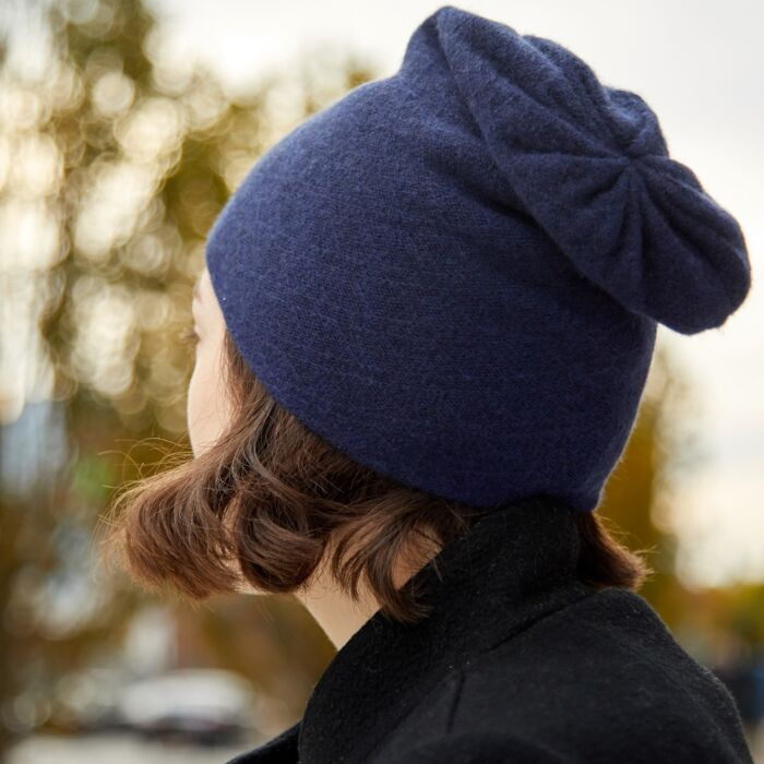 Cashmere Slouch Hat, Navy