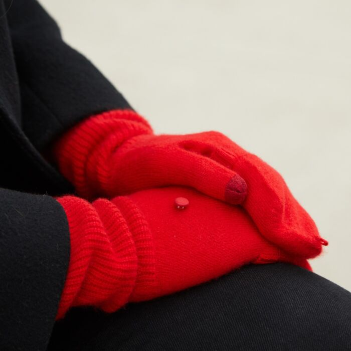 Cashmere Pop-Top Gloves, Red image