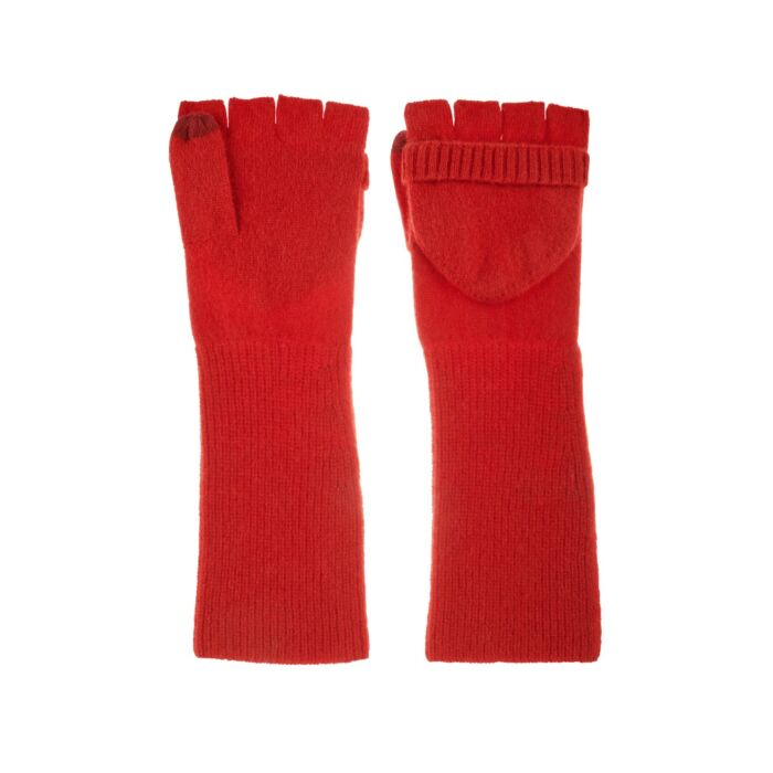Cashmere Pop-Top Gloves, Red