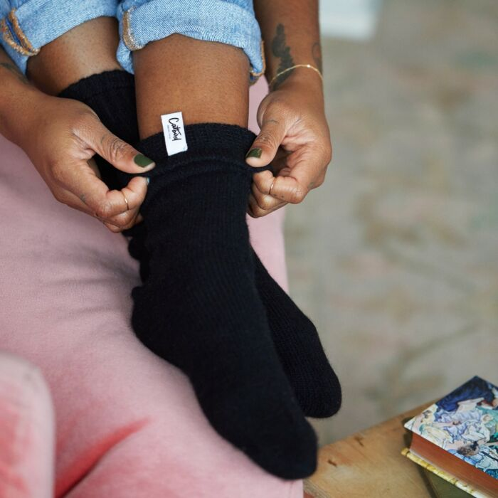 Cozy Cashmere Socks, Black image