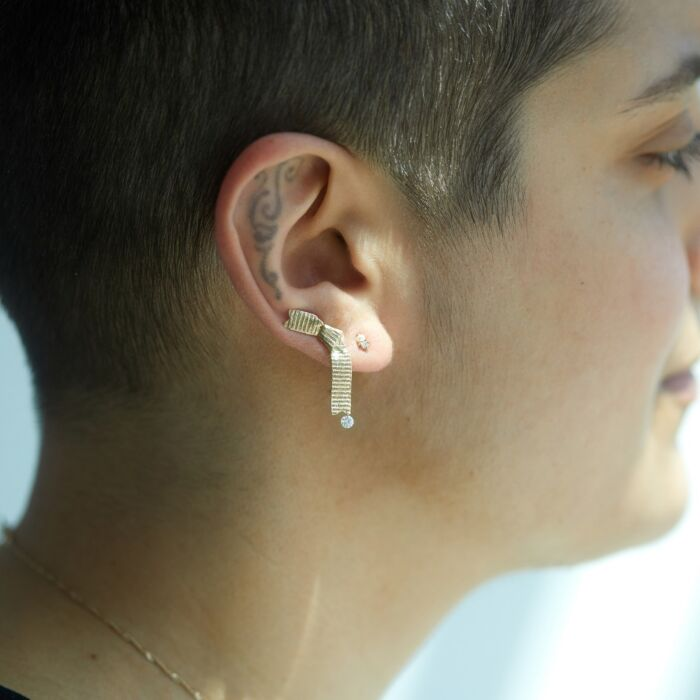 Ribbon Ear Climber, Diamond image