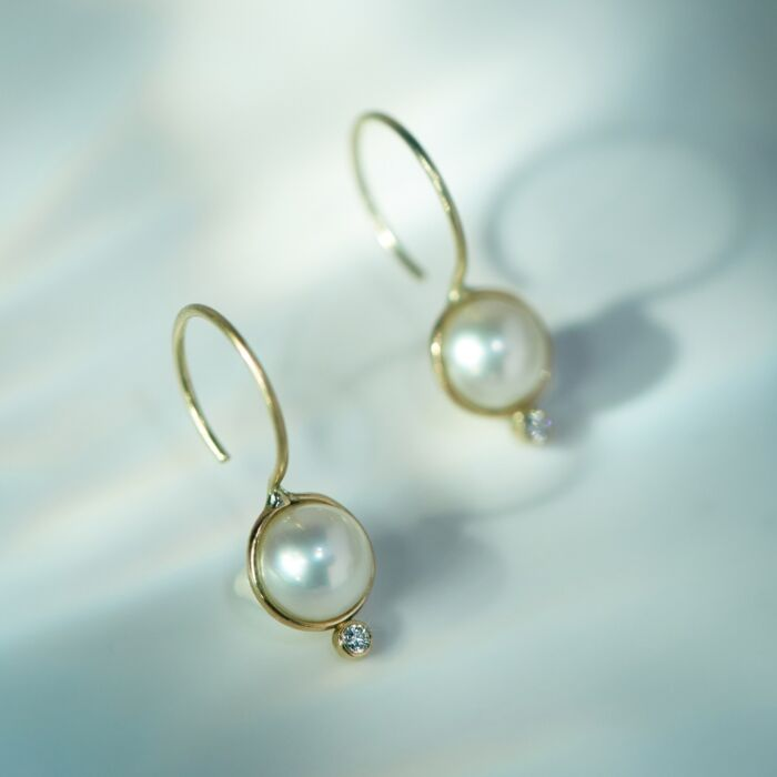 Diamond Moon Drop Earrings image