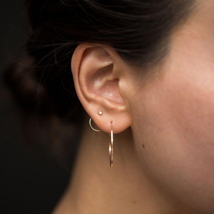 Diamond Ear Nut Earring, Yellow Gold (SINGLE) image