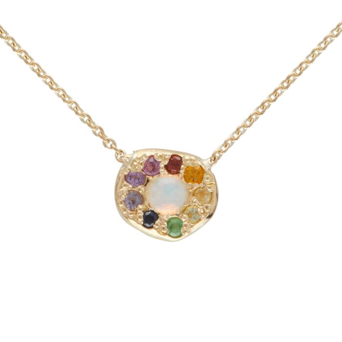 Opal Rainbow Disc Necklace