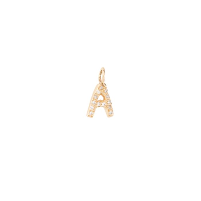 Puffy Diamond Letter Charm