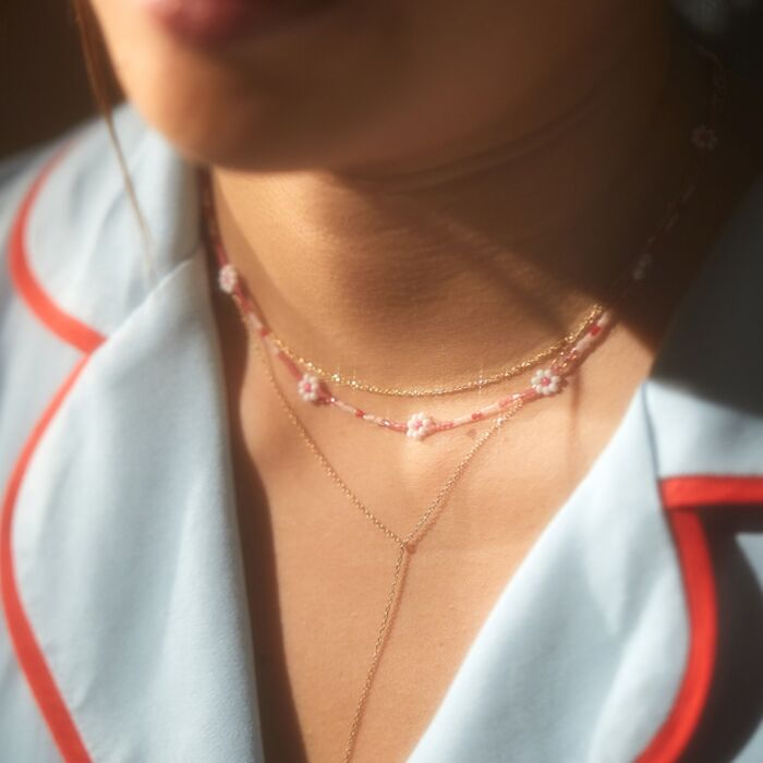 Daisy Chain Necklace, Pink image