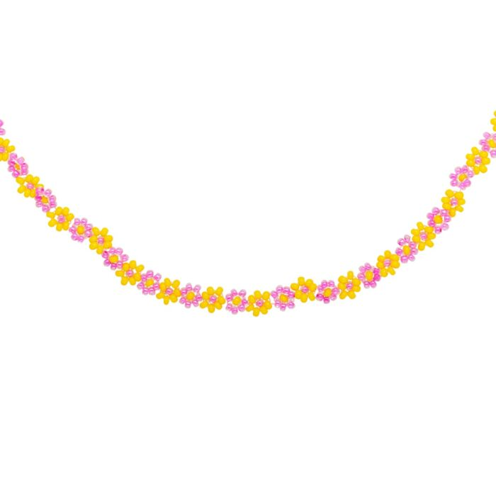 Flower Power Necklace, Yellow and Pink