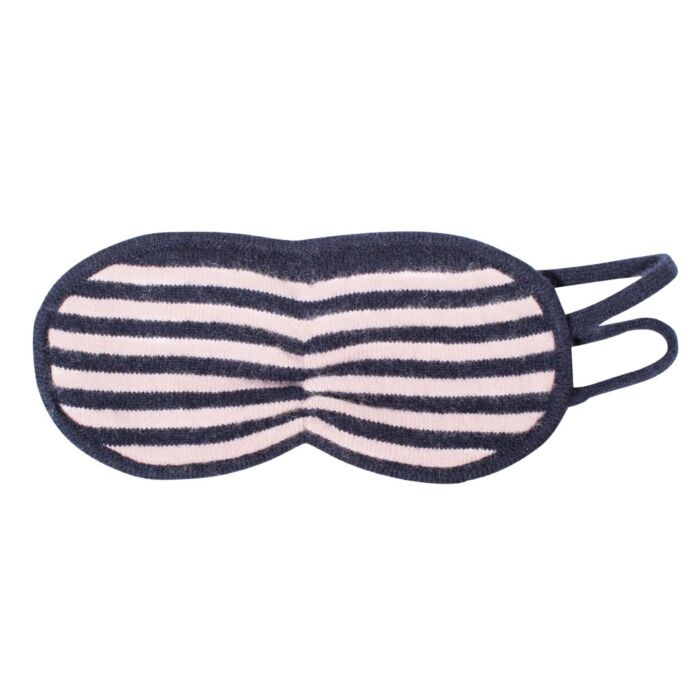 Cashmere Eye Mask, Navy & Pale Rose Stripes image