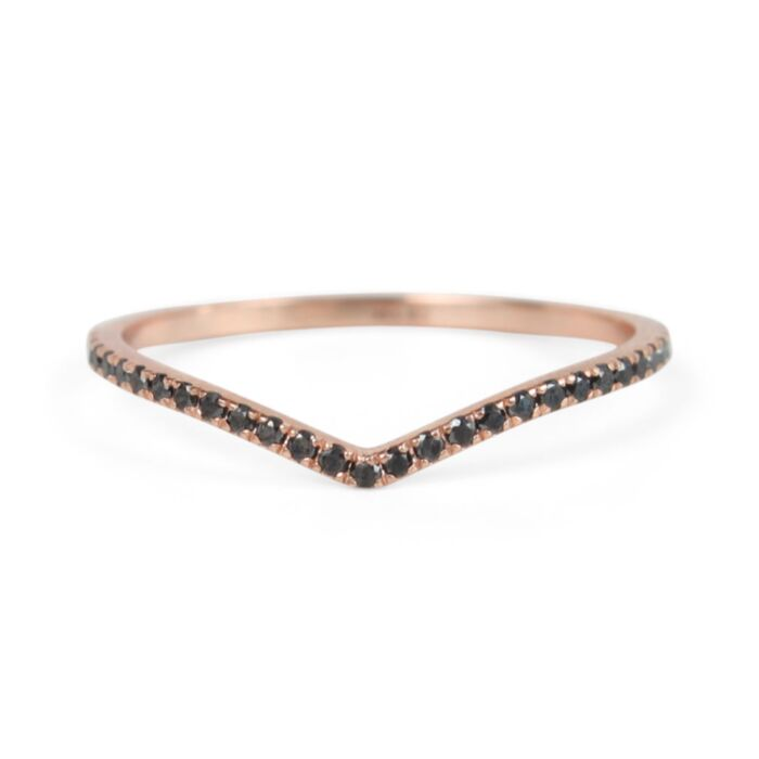 Fairy Light Eternity Band, curved, black diamond