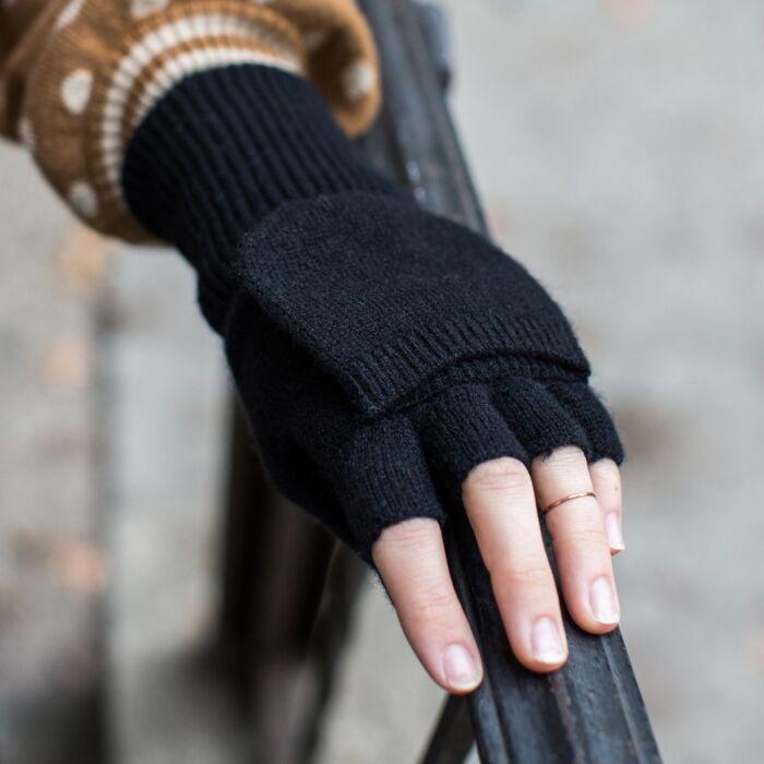 Cashmere Pop-Top Gloves, Black image