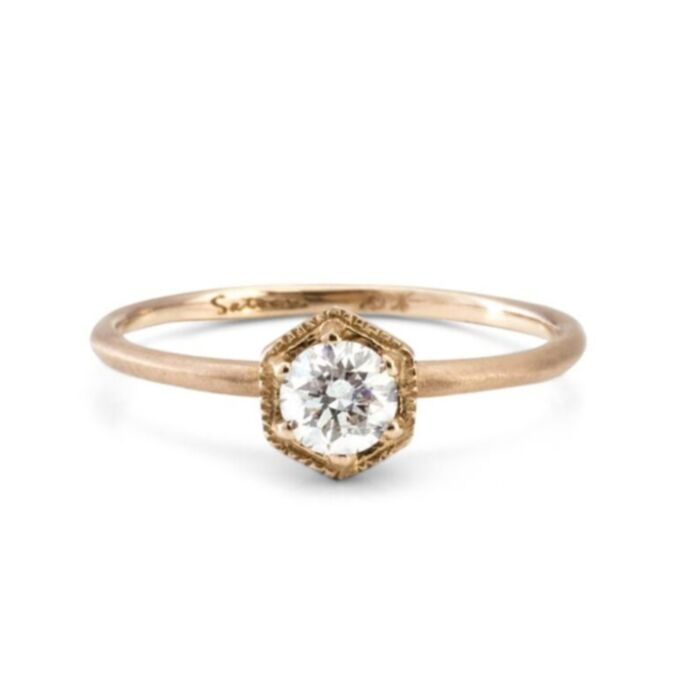 Hexagon Ring, White Diamond, Gold