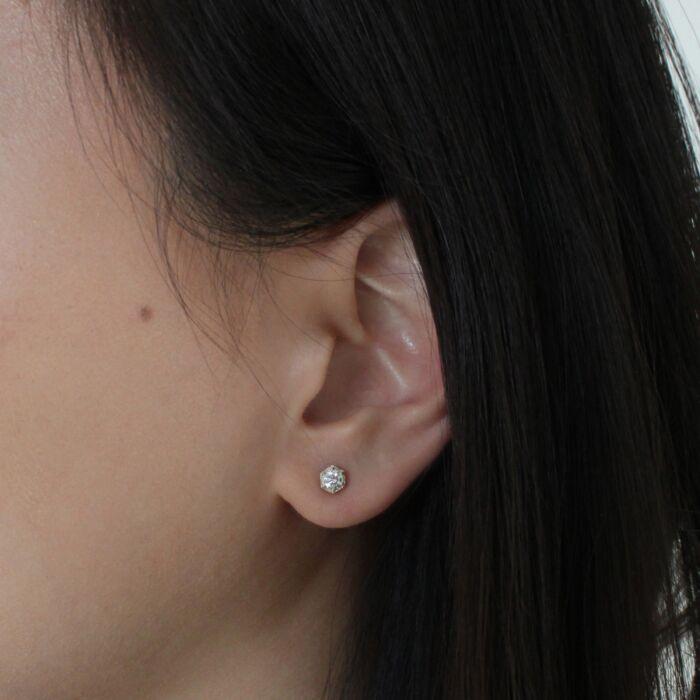 Hexagon Earrings, White Diamonds image