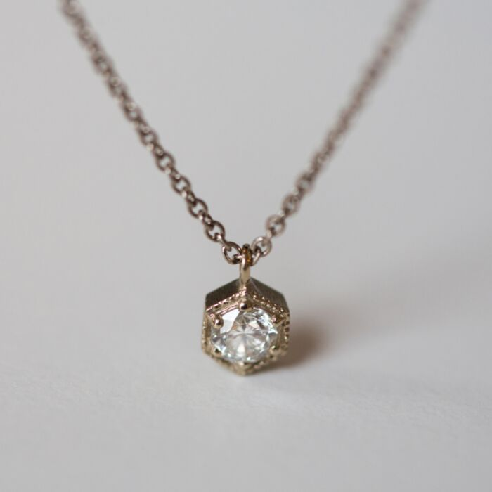 Hexagon Necklace, White Diamond
