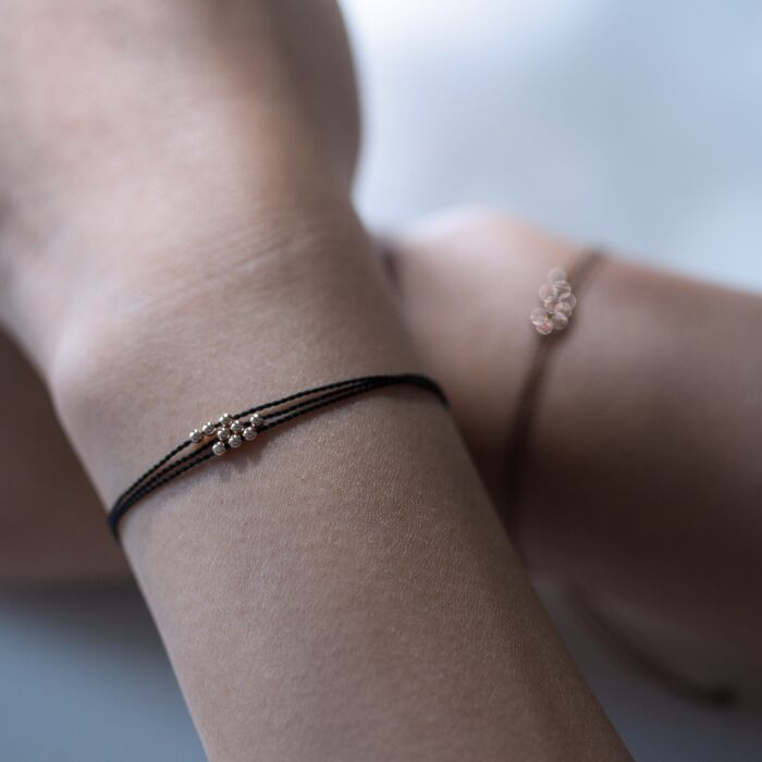 Friendship Bracelet with Rose Gold Beads, Black image