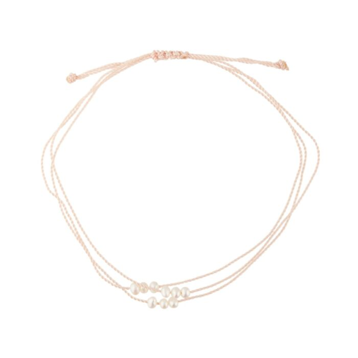 Friendship Bracelet With Pearls, Pink