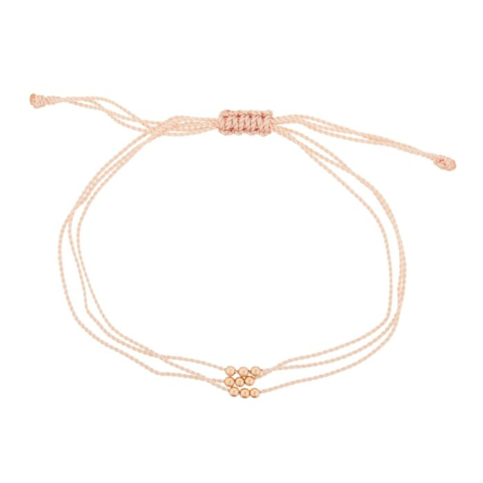 Friendship Bracelet with Rose Gold Beads, Pink