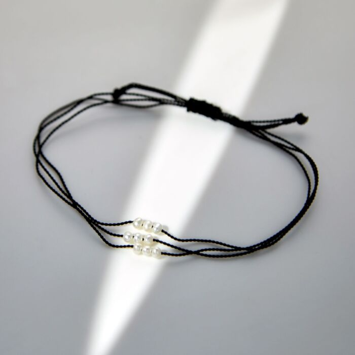 Friendship Bracelet With Pearls, Black image