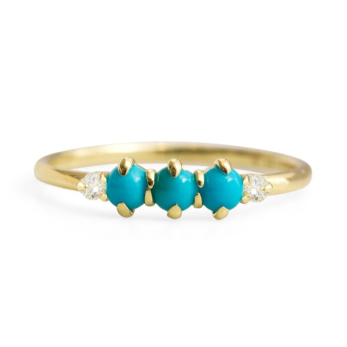 Felicia Turquoise and Diamond Ring