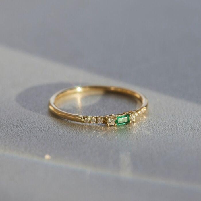 Baguette Emerald Equilibrium Ring image