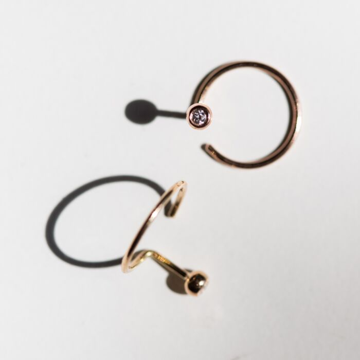 Diamond Ear Nut Earring, Rose Gold (SINGLE) image
