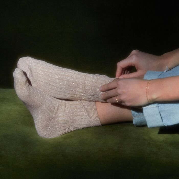 Twinkly Toes Socks, Rose Glitter image