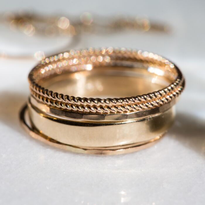 Classic Hammered Ring, Yellow Gold image