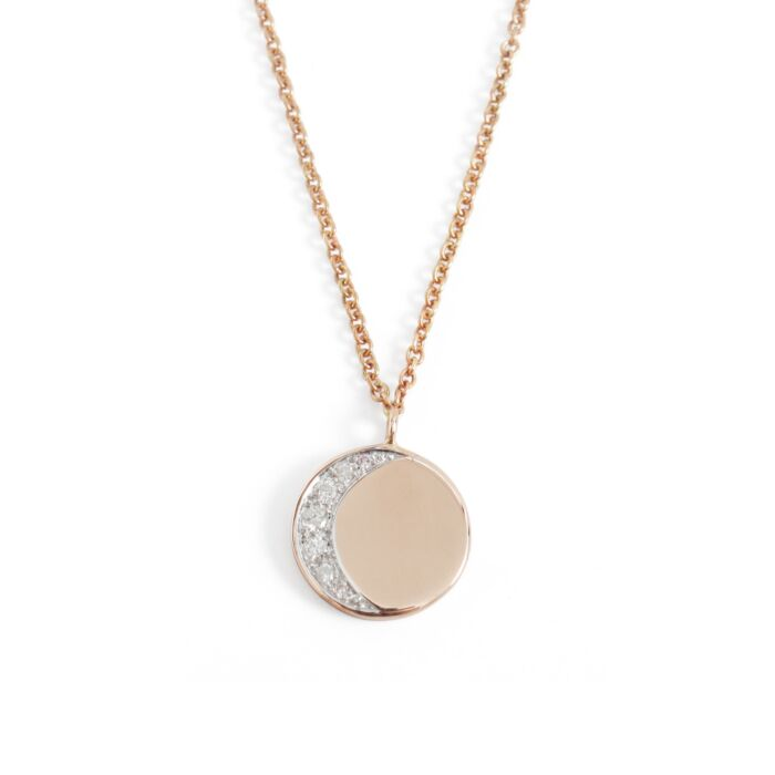 Moon Phase Necklace, rose gold