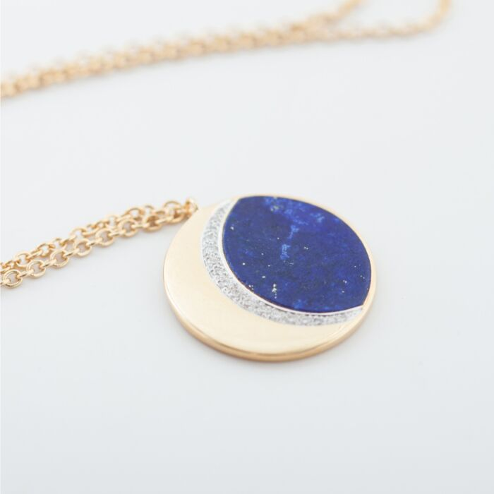 Moon Phase Necklace, Lapis image