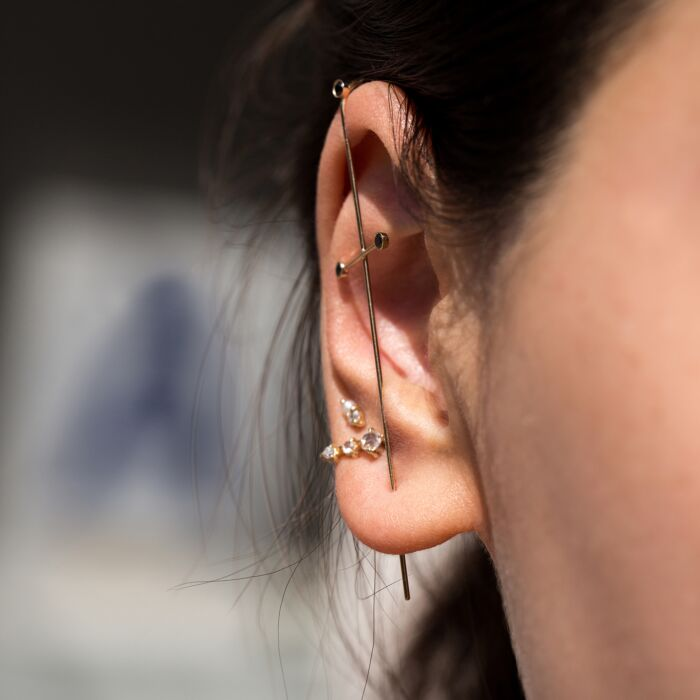 Three Pointer Black Diamond Earring image