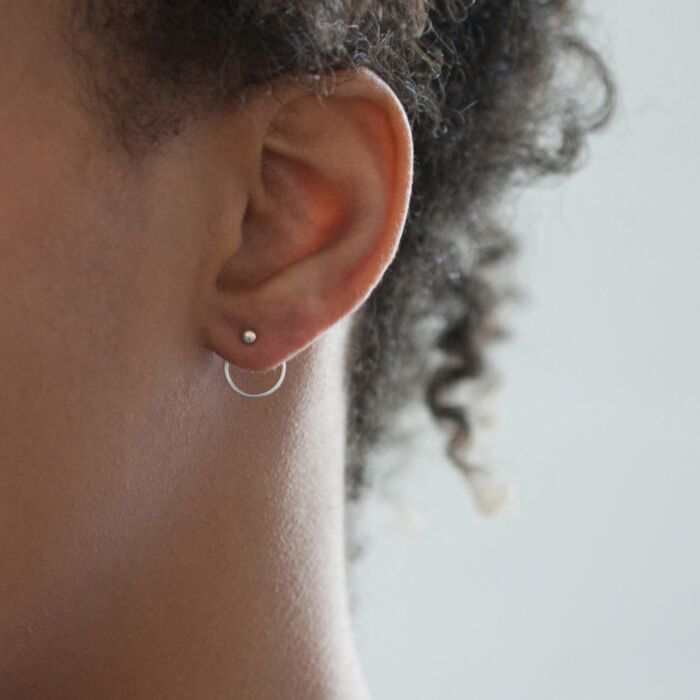 Ear Nut Earring, Silver (SINGLE)