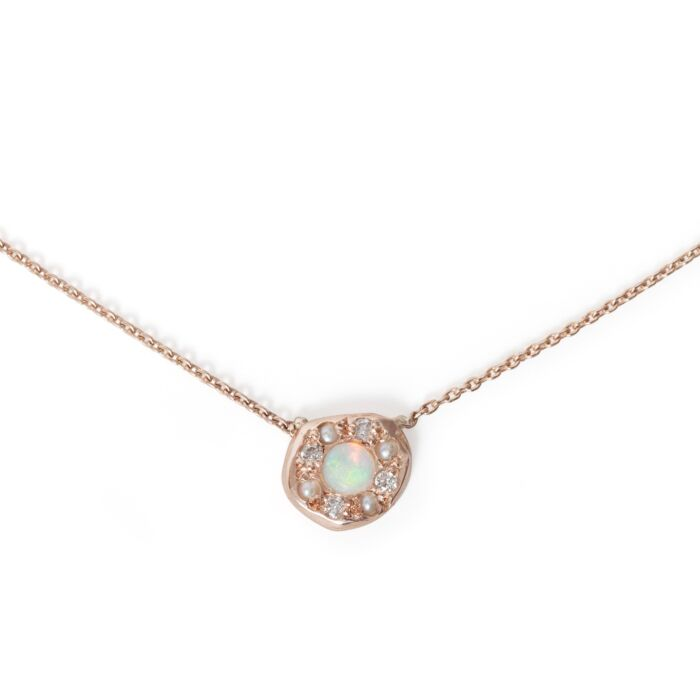 Opal Disc Necklace