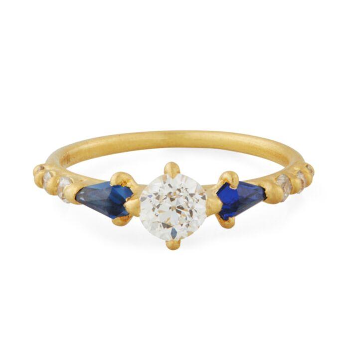 Sapphire Diamond Kite Ring