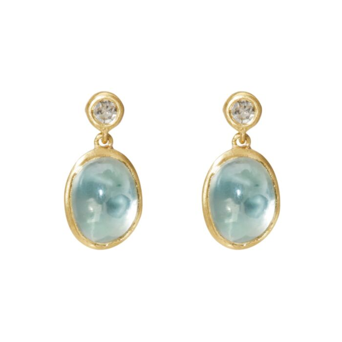 Moonlit Mango Moonstone Earrings