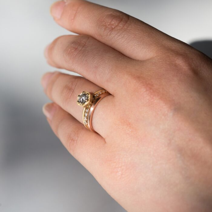 Hexagon Ring, White Diamond, Gold image