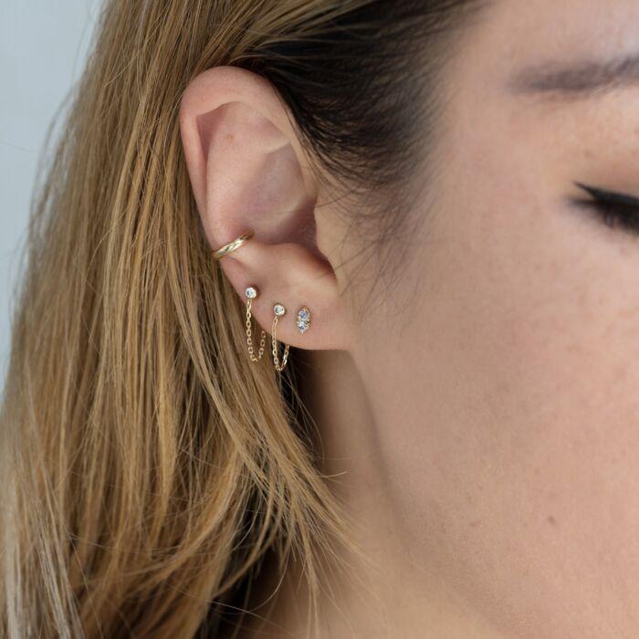 Tonal Two-Step Sapphire Earring (Single) image