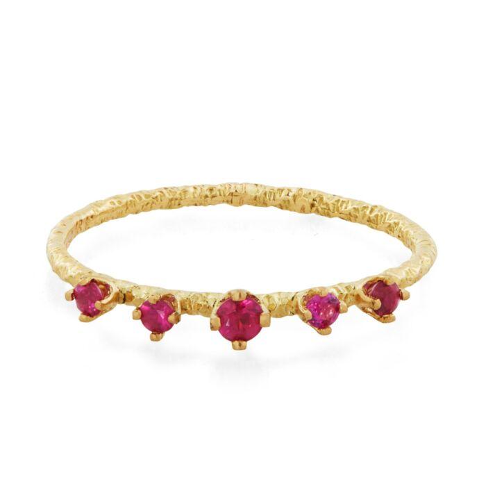 Homespun Five Ruby Ring