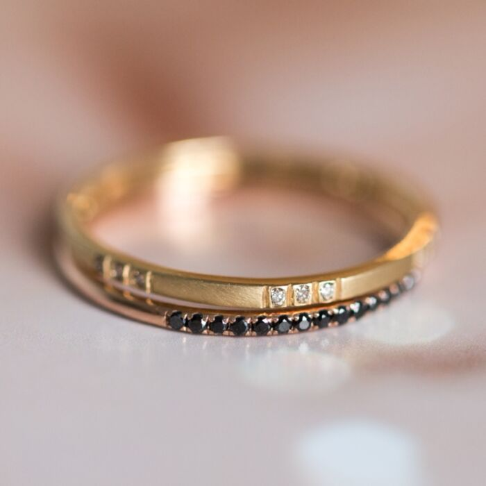 Spaced Champagne Diamond Band image