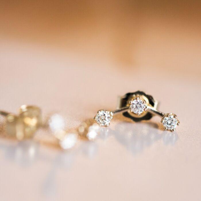 Triple Stone Stud, White Diamond (single) image