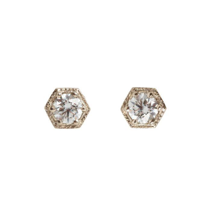 Hexagon Earrings, White Diamonds