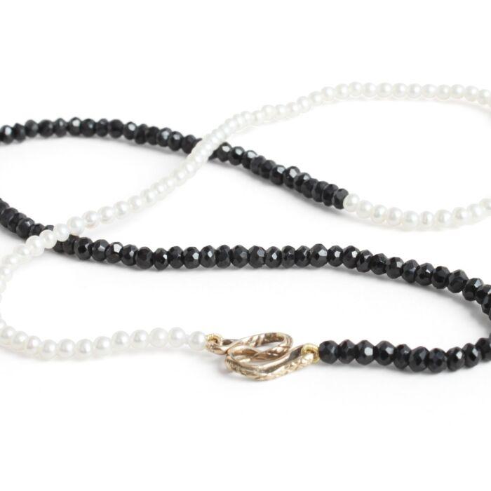 Serpentine Delilah Necklace, Black Garnet & Pearl image