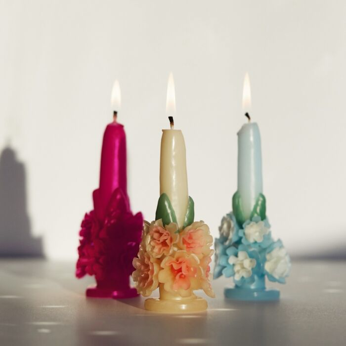 Flora Candle, Baby Blue and Green image