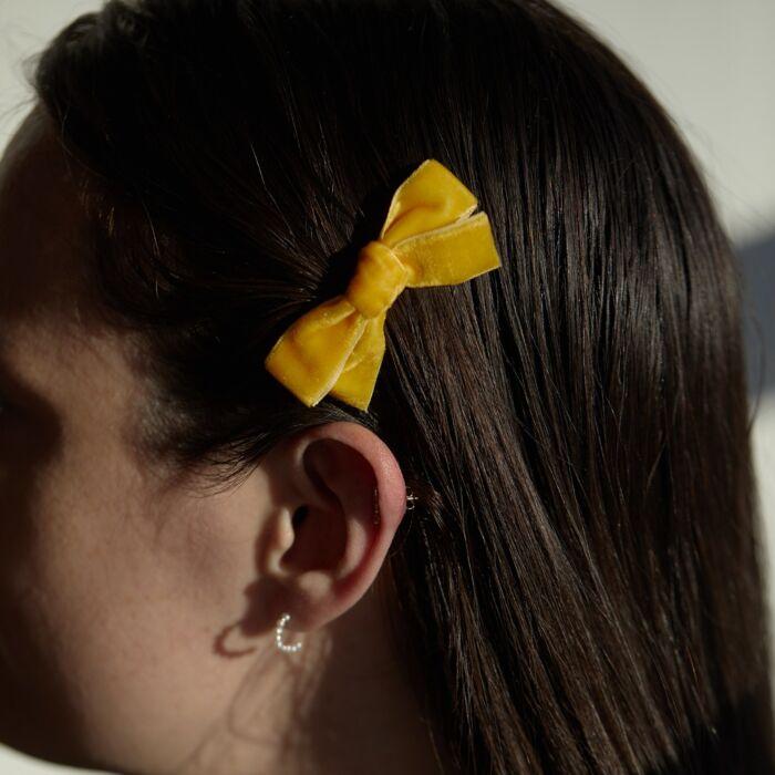 Alice's Velvet Bow Hair Clip, Mustard image